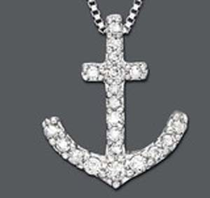 Anchor Pendant 0.42 Ct Diamond Solid White Gold Natural Certified
