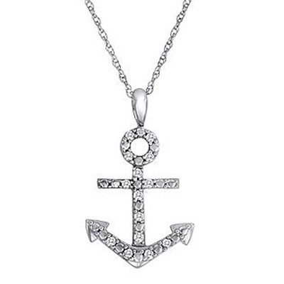 Anchor Pendant Diamond 0.50 Ct Solid White Gold Natural Certified