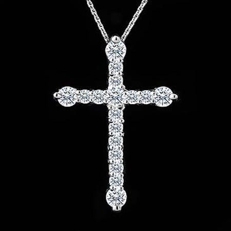 Religious Necklace Cross 0.55 Ct Solid White Gold Pendants Natural Certified