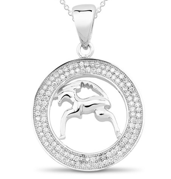 Zodiac Charms Aries 1.00 Ct Diamond White  Gold Astrology jewelry Natural Certified