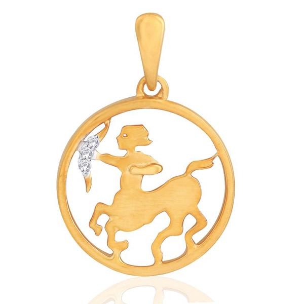 Zodiac Pendants Sagittarus 0.10 Ct Diamond Solid Gold Astrology jewelry Natural Certified