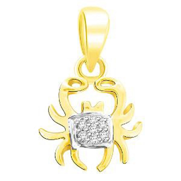 Zodiac Charms Cancer 0.35 Ct Diamond Solid Gold Zodiac Sign Necklace Natural Certified