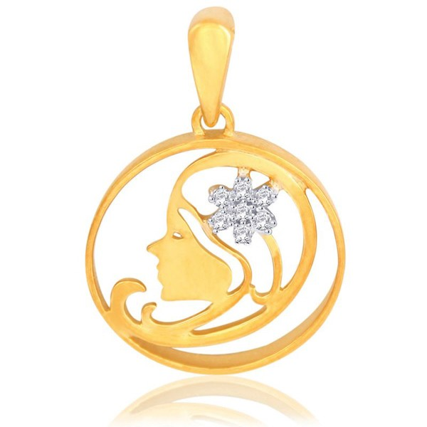 Zodiac Necklace Virgo 0.15 Ct Diamond Yellow  Gold Powerful symbolic Natural Certified