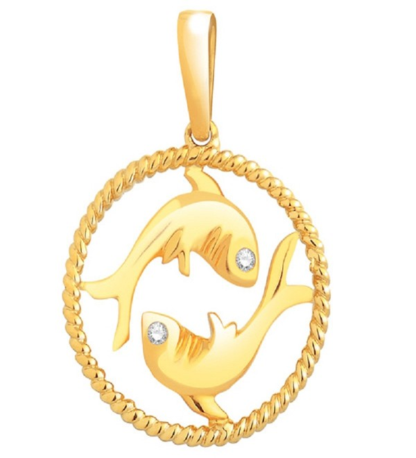 Zodiac Charms Pisces 0.12 Ct Diamond Solid Gold Zodiac Sign Jewelry Natural Certified