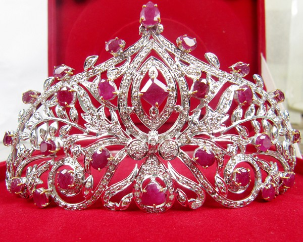 Certified Diamond Gold Tiara 38.60 Ct Natural Certified Diamond Ruby 14K White Gold Headband
