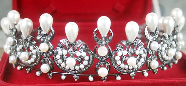 wedding headbands 15.50 Ct Certified Diamond Pearl Sterling Silver Hair Accessories