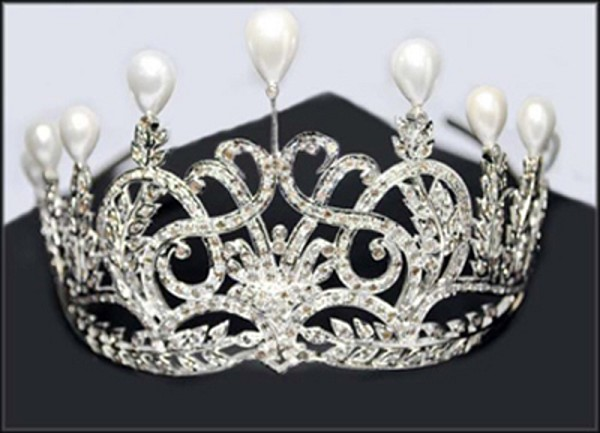 Princess Tiaras And Crowns 20.86 Ct Certified Diamond Pearl Sterling Silver Mugal Inspried