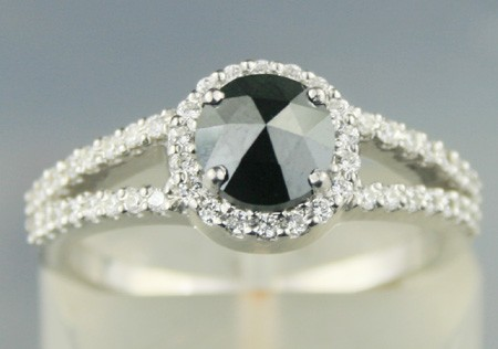 Enhanced Black Diamond Ring 1.36 Ct Black & White Diamond Round Shape Sterling Silver Solitaire
