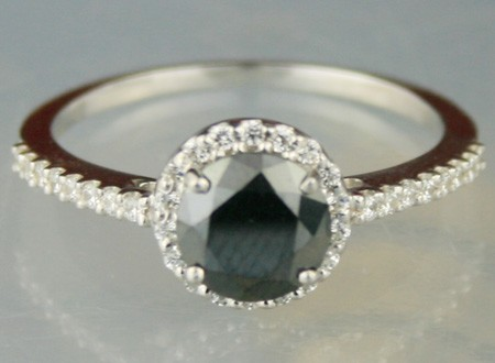 Artistry Black Diamond Ring 1.36 Ct Black & White Diamond Round Shape Sterling Silver Solitaire