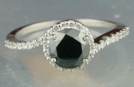 Black Stone 1.36 Carat Diamond Solitaire Ring Round Shape Solid Gold
