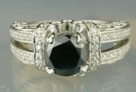 Black Stone 3.12 Carat Black Diamond Solitaire Ring wz Accent Solid Gold