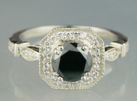 Black diamond Wedding Rings 1.64 Carat Round Diamond Solitaire  Solid Gold