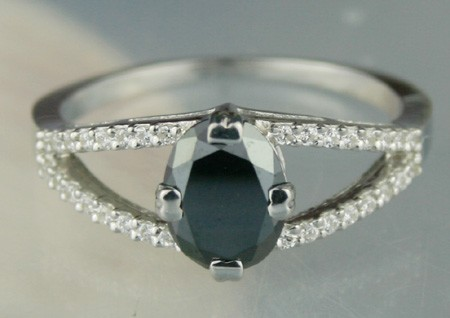 Enhanced Black Diamond 1.38 Carat Solitaire Black Diamond Ring Oval Cut Solid Gold