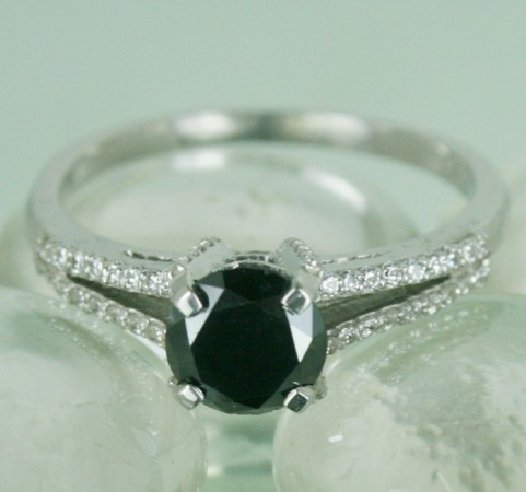 Artistry Black Diamond 1.38 Carat Solitaire With Accents Ring Solid Gold