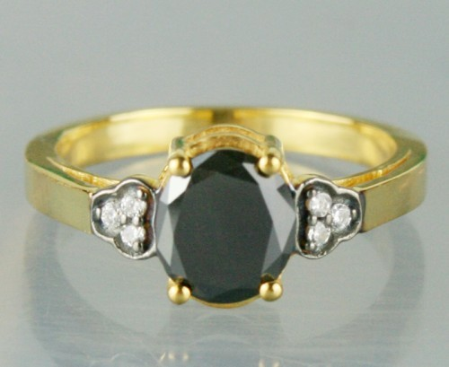 Cheap Black Diamond 1.26 Carat Solitaire Engagement Ring Oval Cut Solid Gold