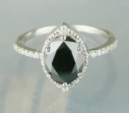 Black diamond Wedding Ring 2.72 Carat Marquise Cut Diamond Solitaire Solid Gold