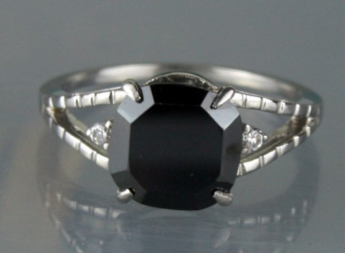 Enhanced Black Diamond 3.57 Carat Solitaire Engagement Ring Cushion Cut Solid Gold