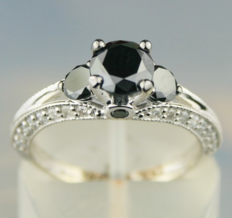 Black Diamond Rings 1.90 Carat Solitaire Black Diamond Round Shape Solid Gold