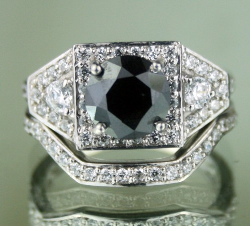 Black Stone 3.89 Ct Solitaire Diamond With Accents Ring Solid Gold