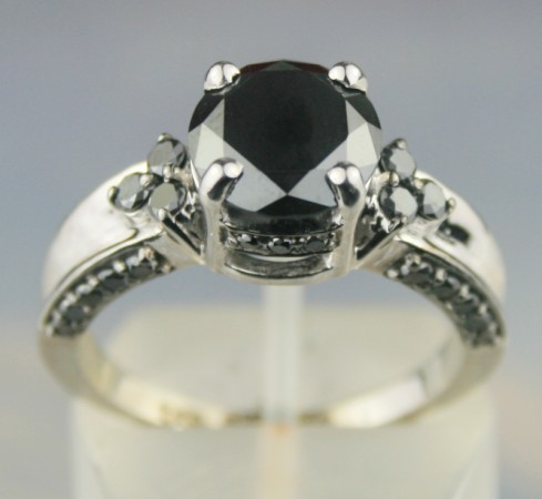 Black Diamond Rings 4.02 Ct Black & White Diamond Cushion Shape Sterling Silver Solitaire