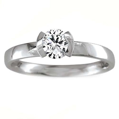 Solitaire Diamond Ring 0.75Ct Solid White Gold Perfect Gift Natural Certified