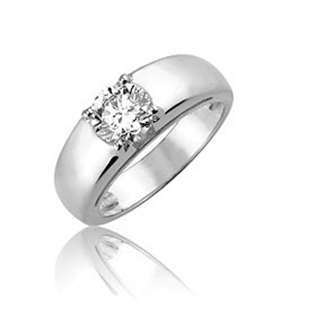 Solitaire Diamond Ring 0.50Ct Solid White Gold Anniversary Natural Certified