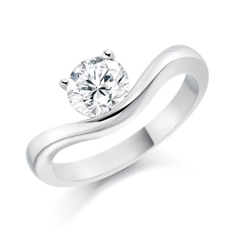 Single Diamond Ring 0.55Ct Solid White Gold Anniversary Gift Natural Certified