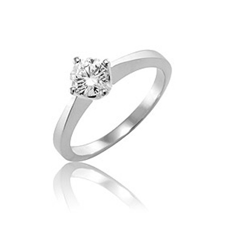 Solitaire Diamond Ring 0.75Ct Solid White Gold Natural Certified