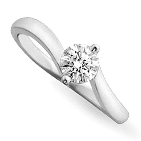 0.45Ct Natural Diamond White Gold Solitaire Ring Engagement