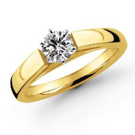 Solitaire Diamond Ring 0.75Ct Solid Yellow Gold Anniversay Gift Natural Certified