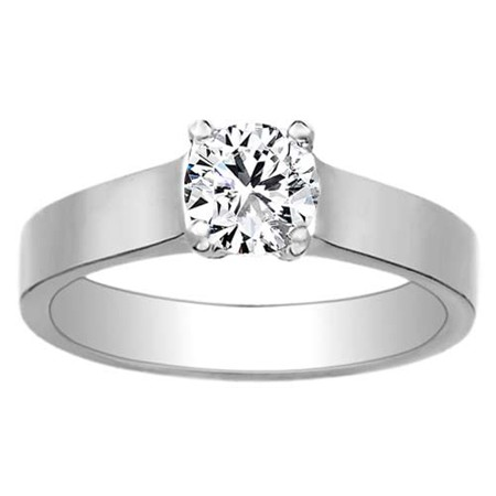 1.25 Carat Solitaire Diamond Round Shape Ring Solid White Gold Natural Certified