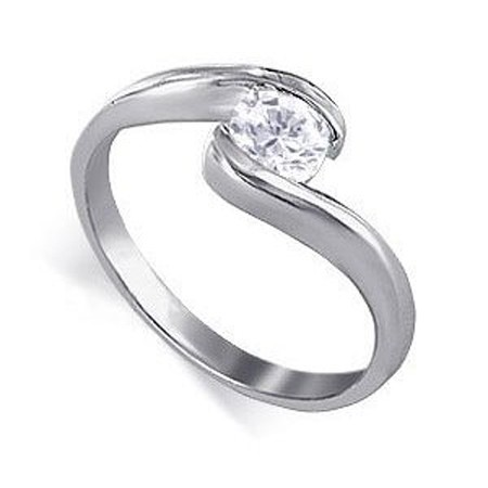 0.55Ct Natural Diamond White Gold Solitaire Ring Engagement