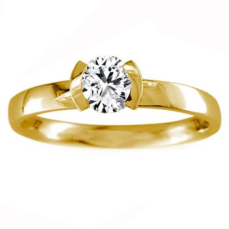 Solitaire Diamond Ring 0.75Ct Round shape Solid Yellow Gold Natural Certified