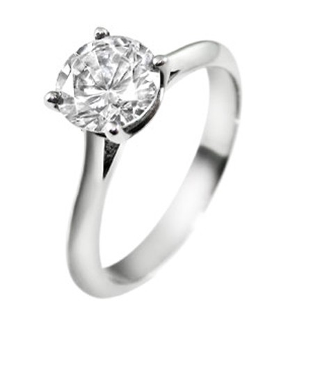 2 Carat Solitaire Diamond Ring Round shape White Gold Natural Certified