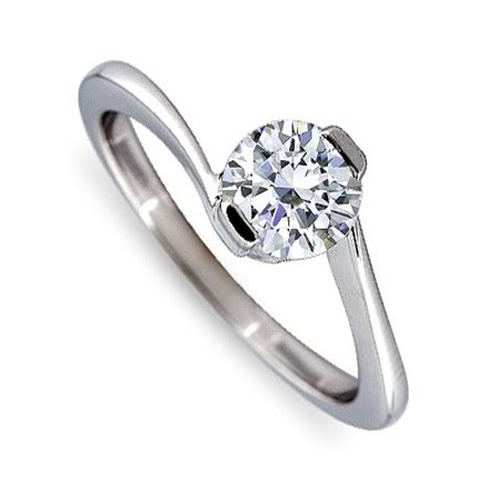 Solitaire Diamond Ring 0.51Ct White Gold Wedding Engagement Natural Certified