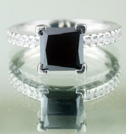 Black diamonds Ring 2.18 Ct Black & White Diamond Princess Shape Sterling Silver Solitaire