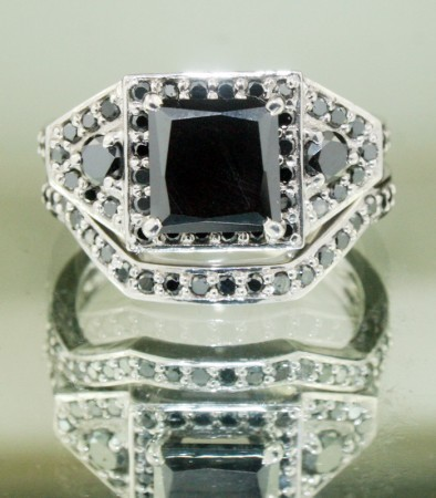 Black Diamond Rings Set 2.37 Ct Black Diamond Princess Shape Sterling Silver Solitaire