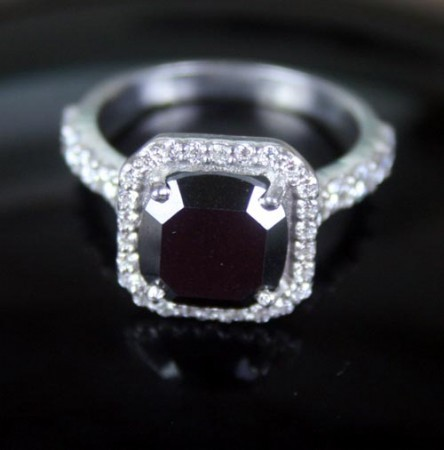 Black Diamond Rings 5.11 Carat Solitaire Diamond Engagement  Solid Gold