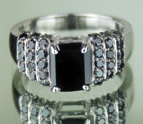Black Stone 2.32 Ct Solitaire Diamond With Accents Ring Radiant Cut Solid Gold