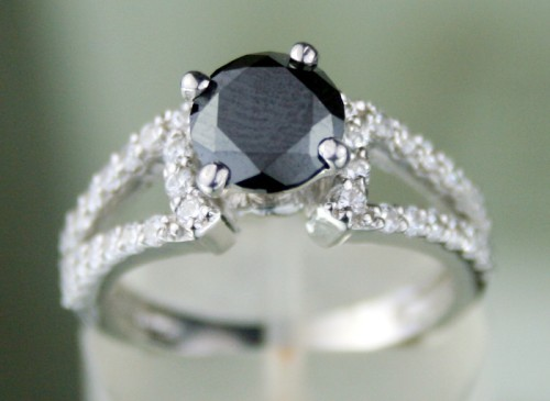Artistry Black Diamond Ring 2.46 Ct Black & White Diamond Round Shape Sterling Silver Solitaire