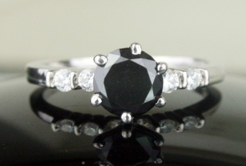 Black diamond Ring 1.46 Ct Round Cut Diamond Solitaire Solid Gold