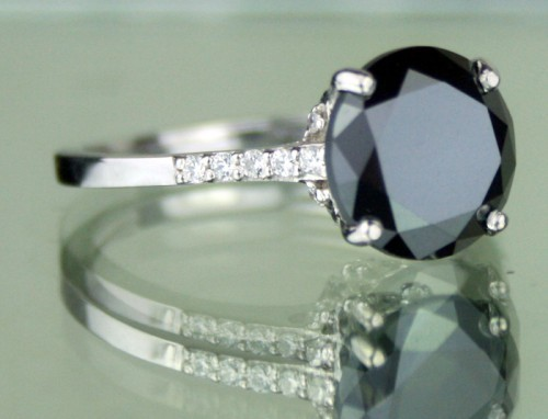 Black diamond Wedding Rings 3.72 Ct Black & White Diamond Round Shape Sterling Silver Solitaire