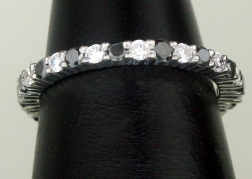 Black Stone Engagement Rings 1.15 Ct Black Diamond Round Shape Sterling Silver