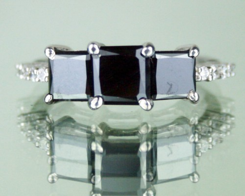 Black Diamond Rings 3.19 Ct Princess Cut Solitaire Black Diamond Solid Gold
