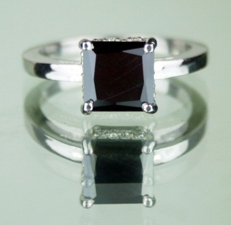 Black Diamond Rings 1.77 Carat  Princess Cut Solitaire Diamond Solid Gold