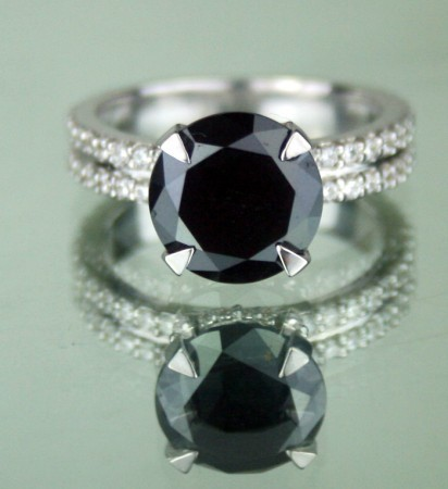 Enhanced Black Diamond 4.08 Carat Solitaire Black Diamond Ring Solid Gold