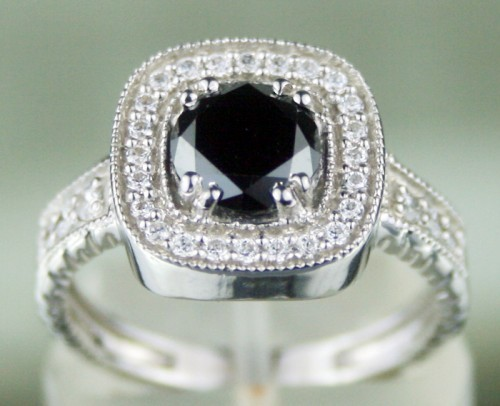 Black Stone 1.70 Carat Black Diamond Solitaire Ring Solid Gold