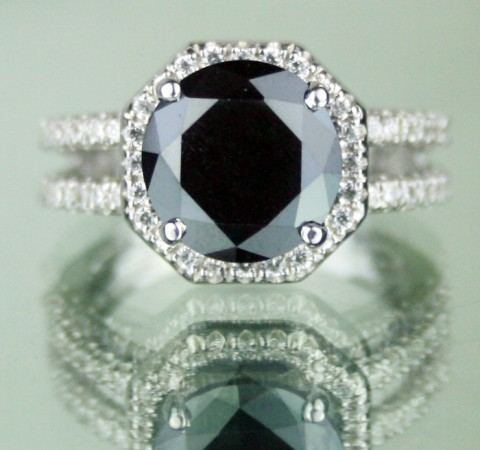 Black diamond Wedding Rings 4.19 Carat cushion cut Solitaire With Accents Solid Gold