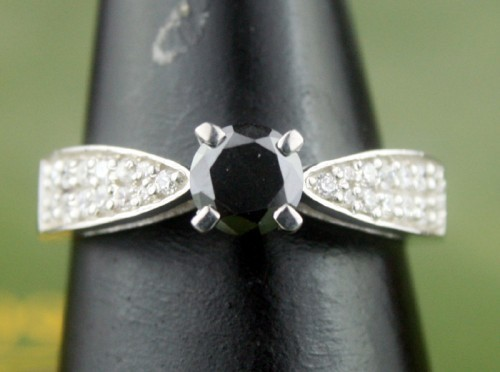 Black and White Diamond Engagement Rings 1.02 Ct Black & White Diamond Round Shape Sterling Silver Solitaire
