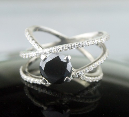 Black diamond Ring 3.02 Carat Diamond Solitaire Engagement Solid Gold